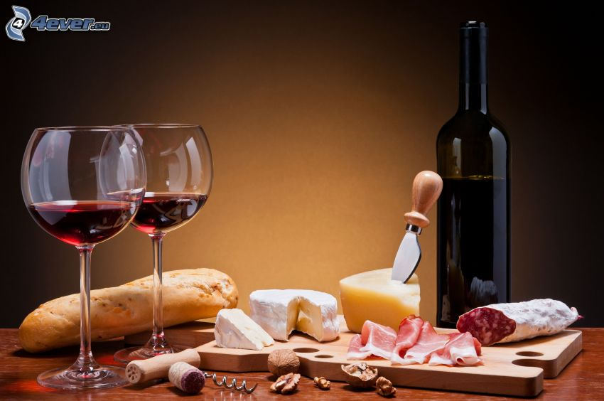 food, wine, glasses, cheese, meat, bread
