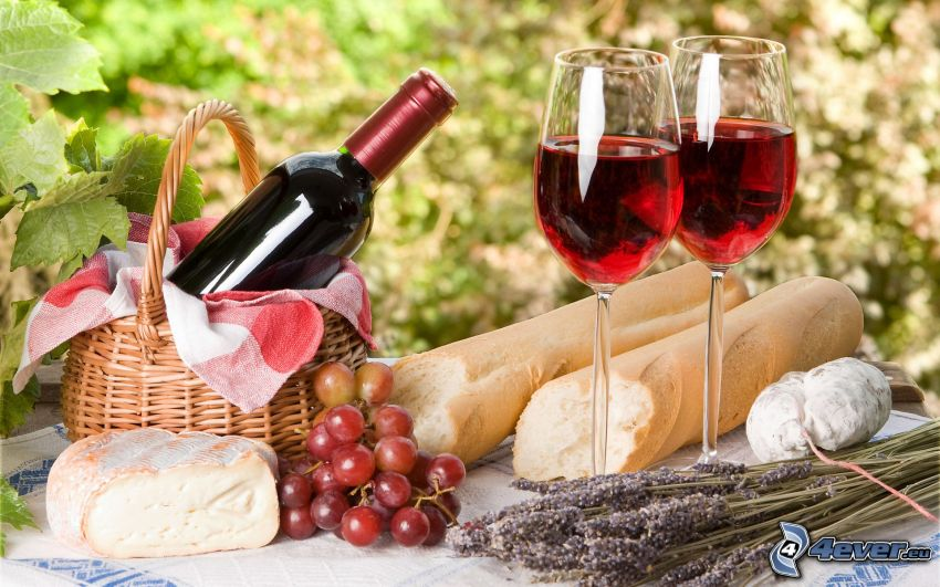 french breakfast, wine, grapes, baguettes, cheese, food