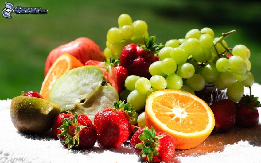 fruit, strawberries, kiwi, orange, grapes, apple