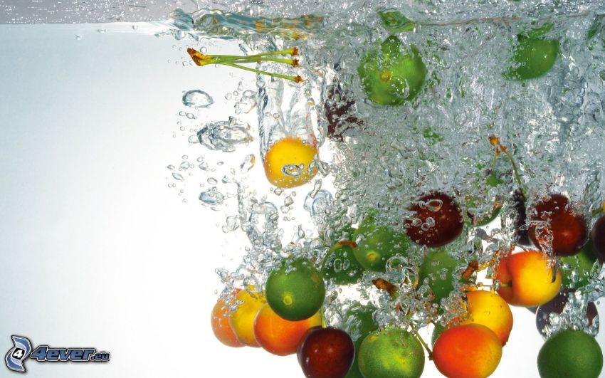fruit in water, apricots, limes, cherries