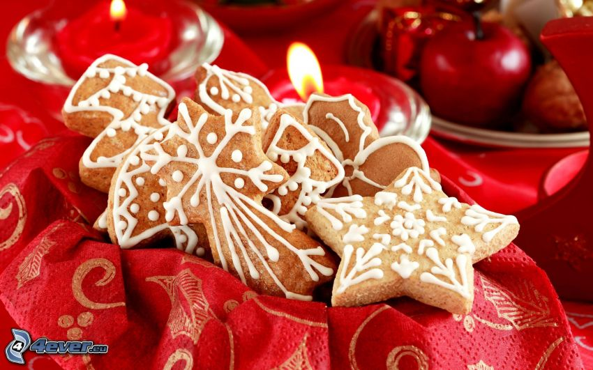 gingerbread, stars, red apple, candles