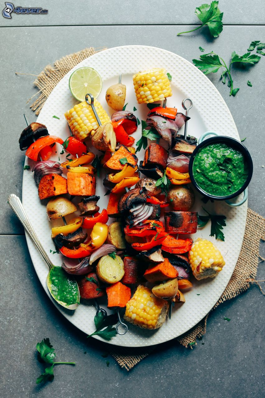 grilled skewer, corn, potatoes, onion, peppers, sauce