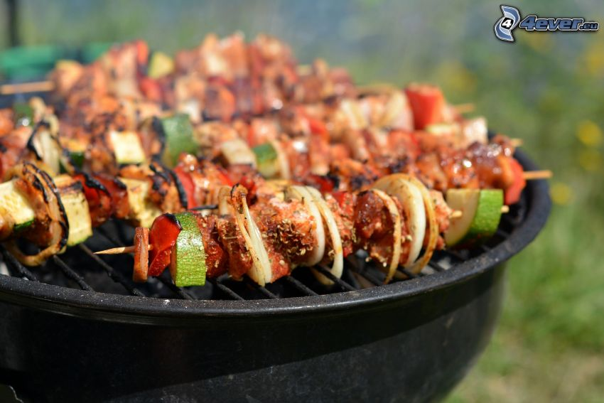 grilled skewer, cucumbers, peppers, onion, grilled meat