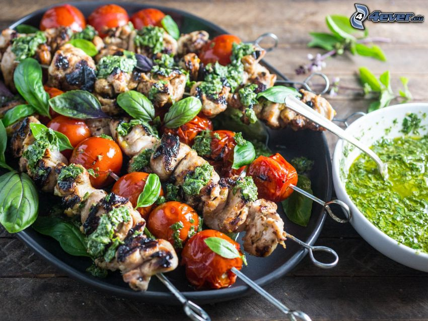 grilled skewer, grilled meat, cherry tomatoes, sauce