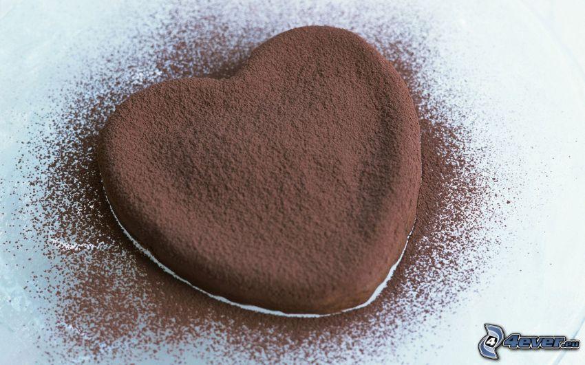 heart, cake, cocoa