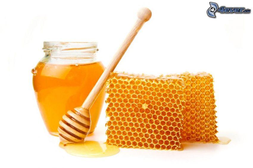 honey, wooden honey stick, beeswax