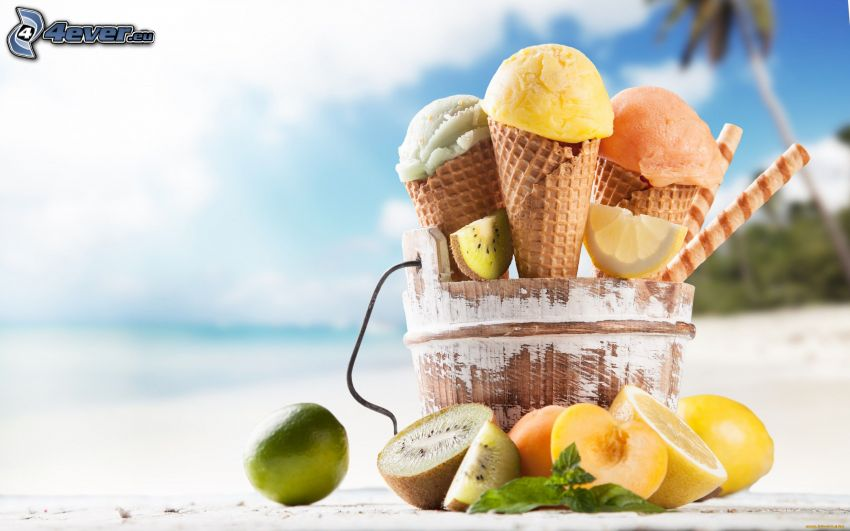 ice cream, cones, fruit, kiwi, lime, lemon, peach, beach, rolled wafers, mint leaves
