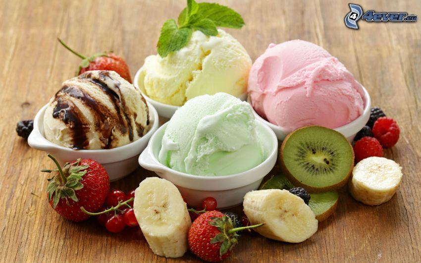 ice cream, fruit, kiwi, bananas, strawberry, redcurrants, raspberries
