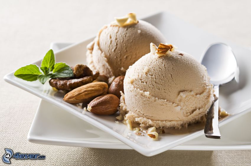 ice cream, nuts, spoon