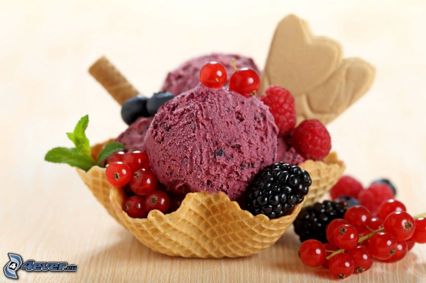 ice cream, redcurrants, raspberries, blackberries, cones