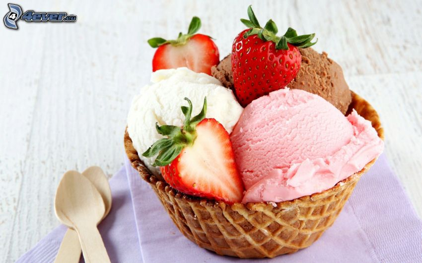 ice cream, strawberries, cone