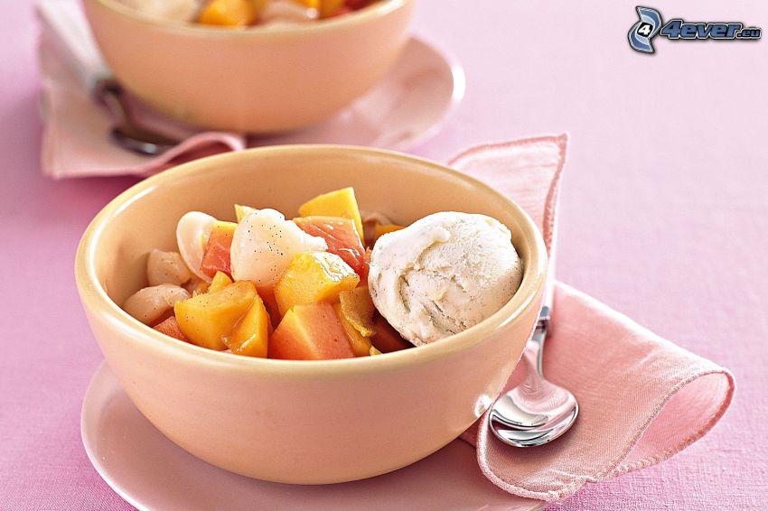 ice cream with fruit, bowl, spoon