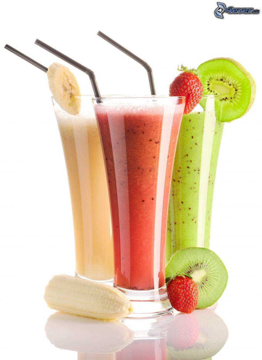 juices, banana, strawberry, kiwi