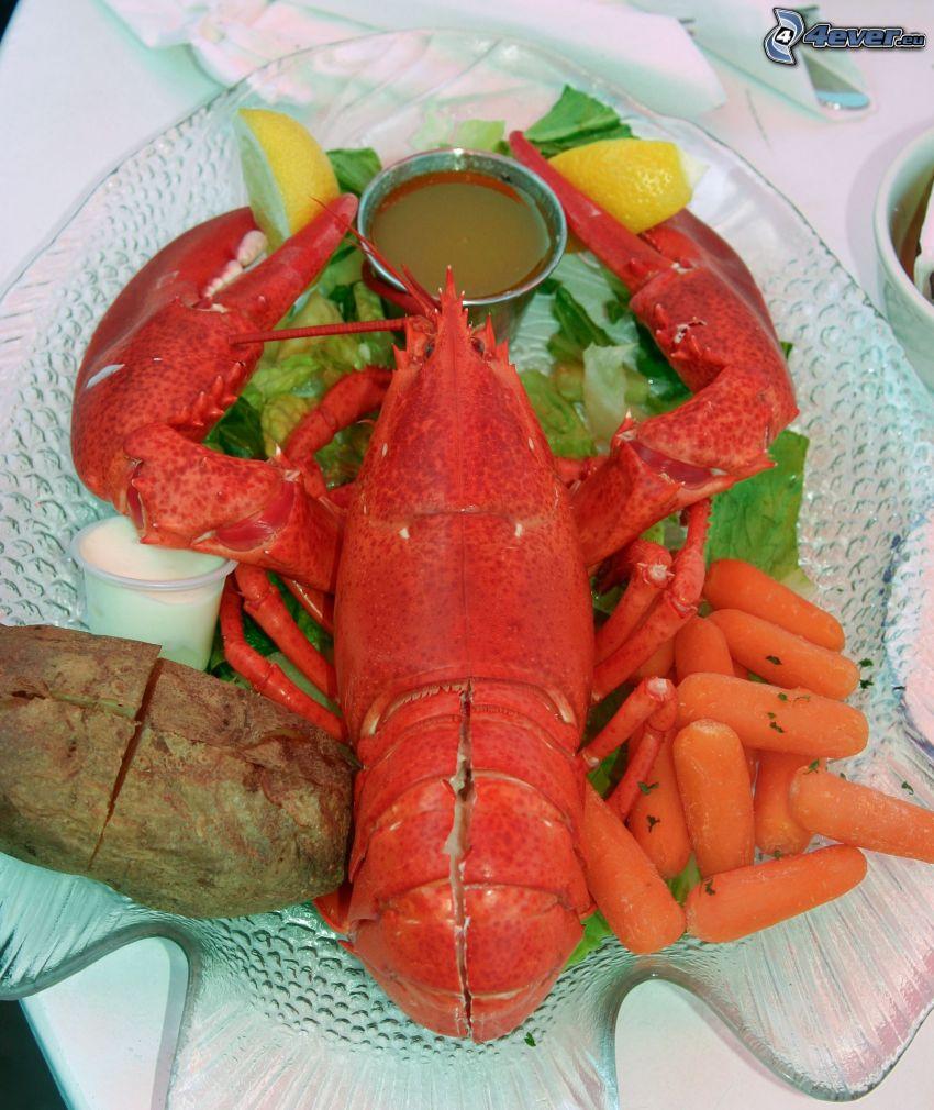 lobster, carrot, lemons
