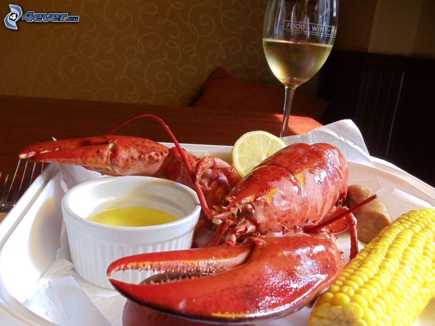 lobster, corn, sauce, wine