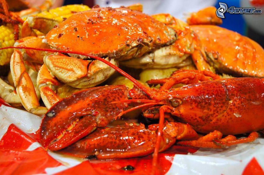 lobster, crab
