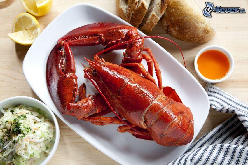 lobster, lemons, sauce, baguette