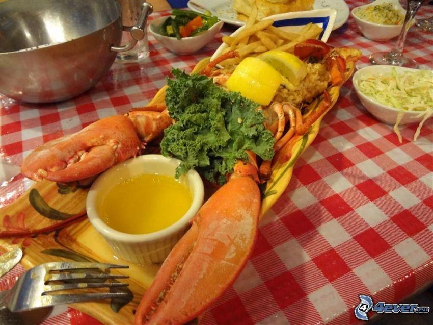 lobster, lemons
