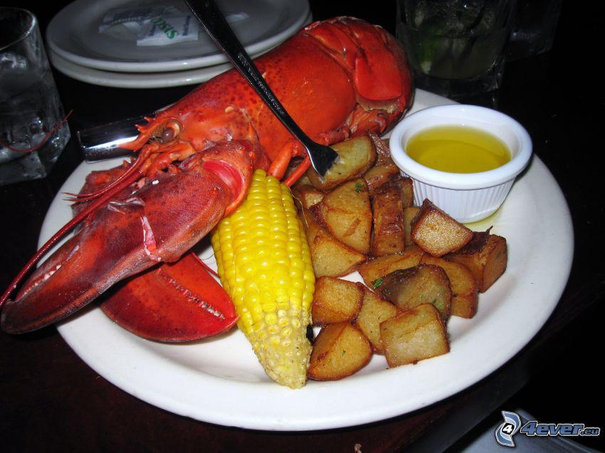 lobster, potatoes, corn