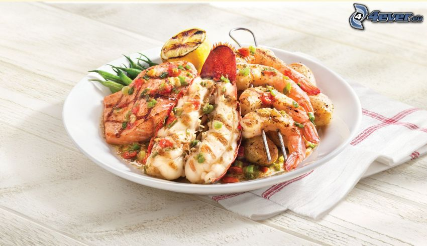 lobster, salad