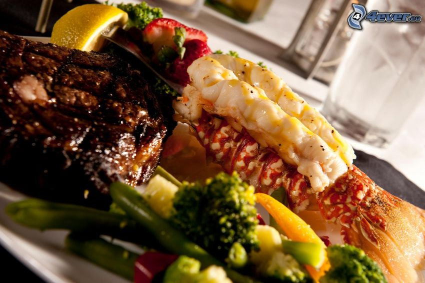 lobster, vegetables, steak