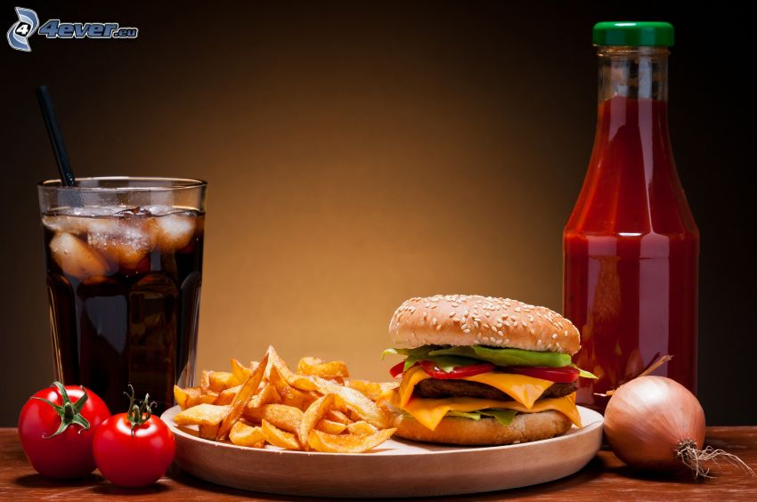 lunch, hamburger, fries, ketchup, Coca Cola