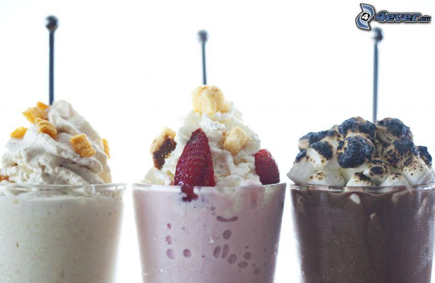 milk shake, cream, strawberries