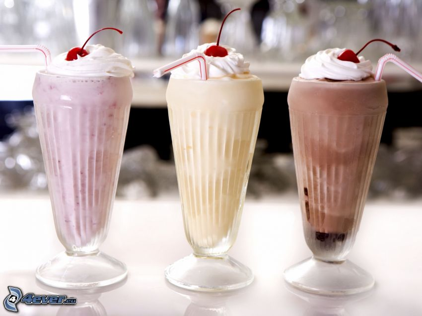 milk shake, cream, straws