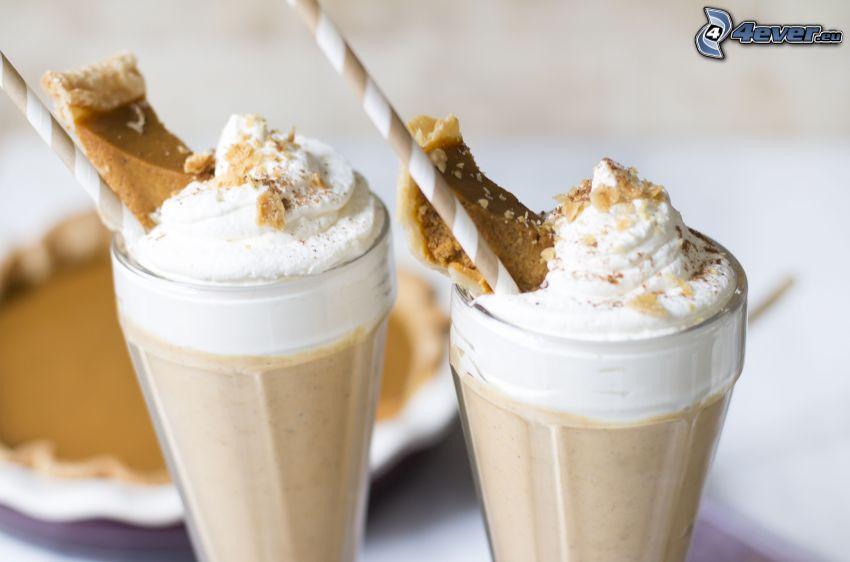 milk shake, cream, straws
