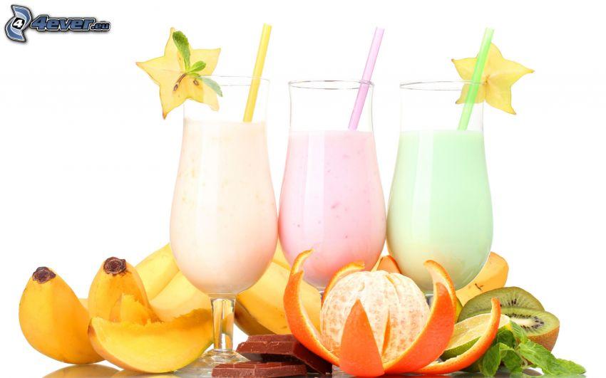milk shake, mandarine, bananas, kiwi, chocolate, mango, straws