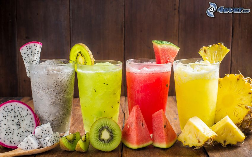 mixed drinks, drinks, kiwi, watermelon, pineapple