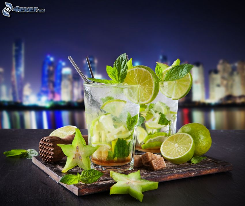 mixed drinks, mojito, limes, mint
