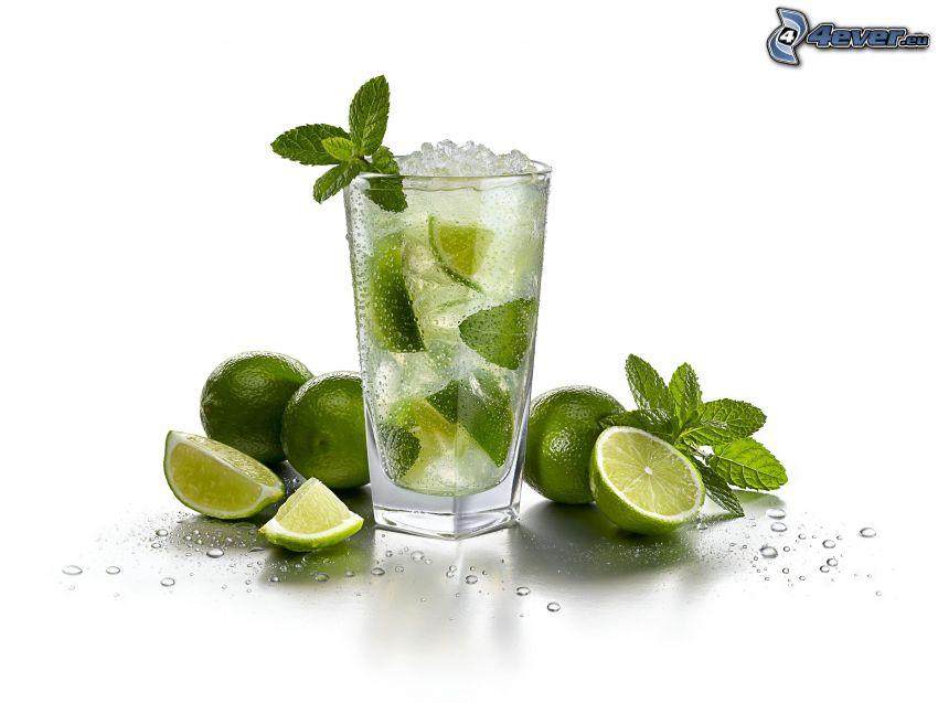 mojito, limes, mint leaves