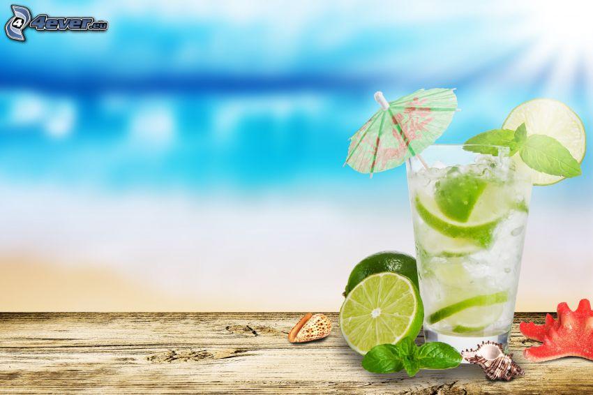 mojito, limes, shells, umbrella