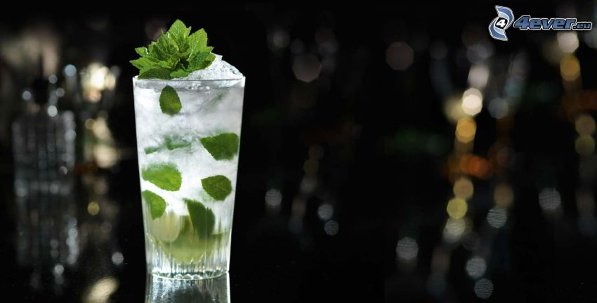 mojito, mint leaves, ice cubes