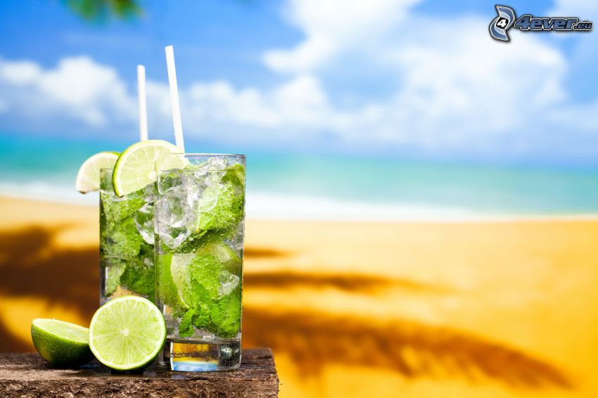mojito, mixed drinks, limes, ice cubes