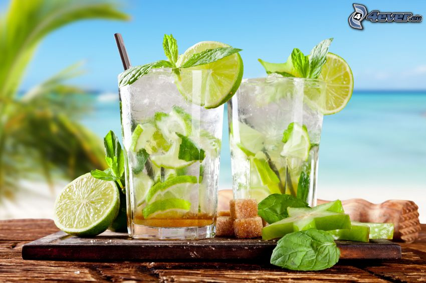 mojito, mixed drinks, mint leaves, ice cubes, limes