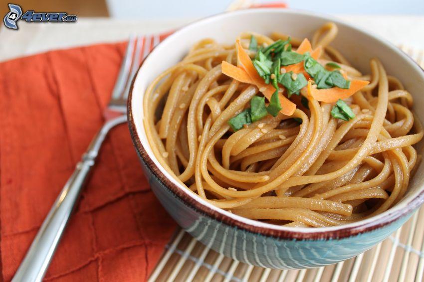 noodles, bowl, fork