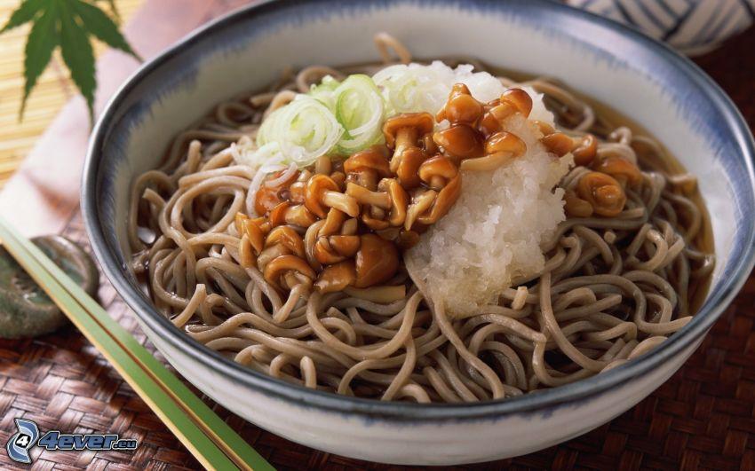 noodles, mushrooms