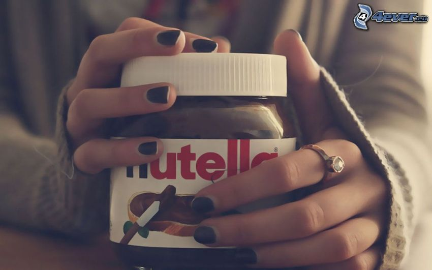 nutella, hands, black nails, ring