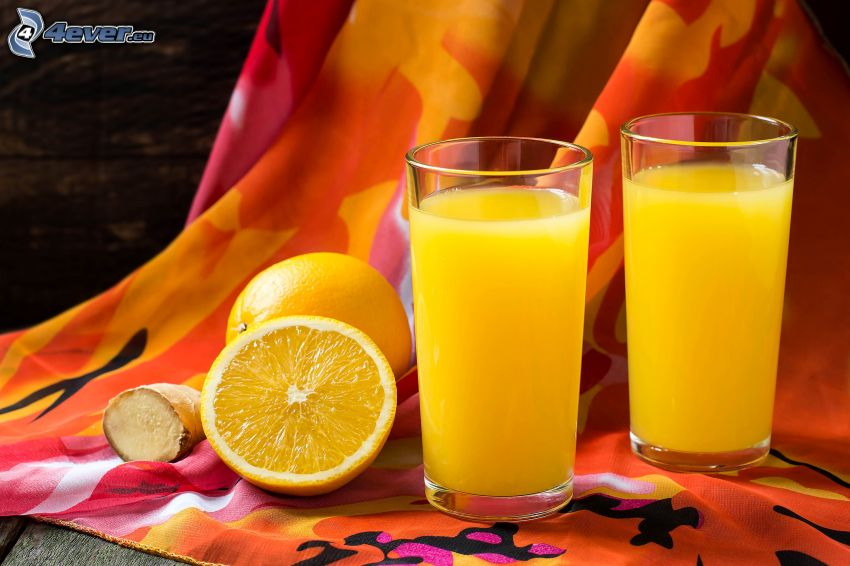 orange juice, oranges