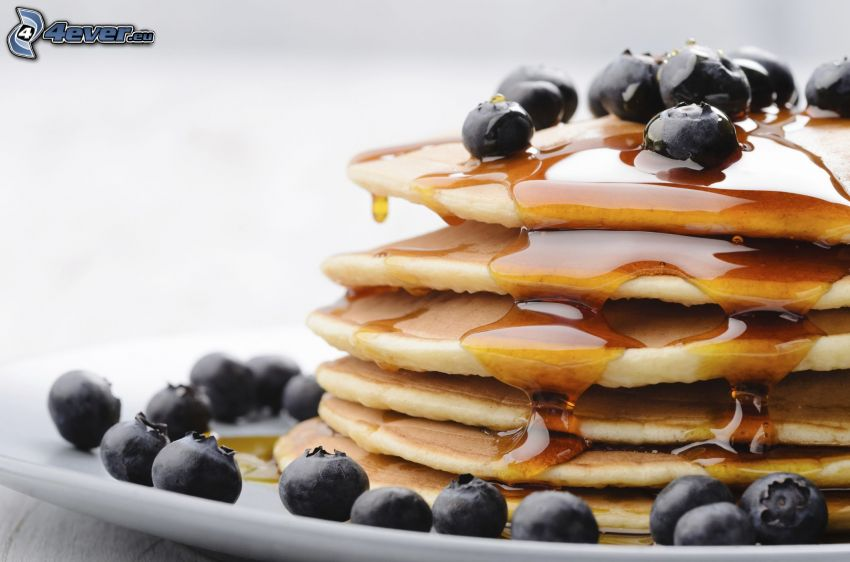 pancakes, honey, blueberries