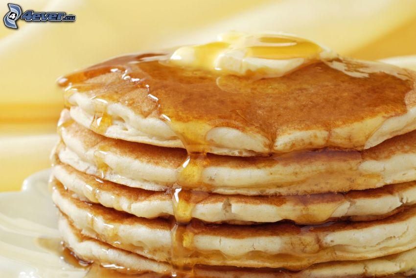 pancakes, honey