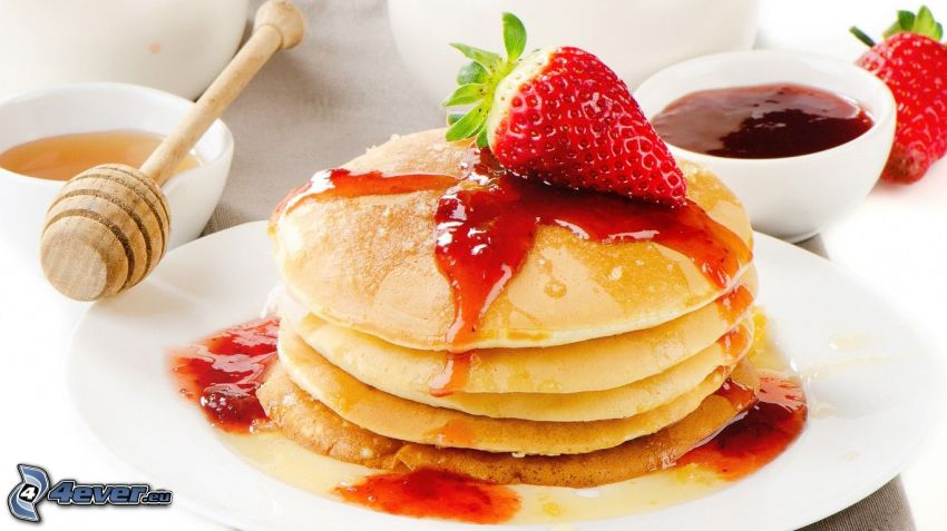 pancakes, strawberries, jam