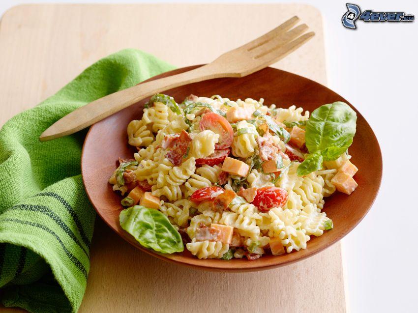 pasta salad, fork