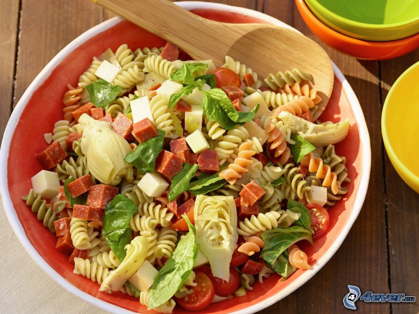 pasta salad, spoon, vegetables
