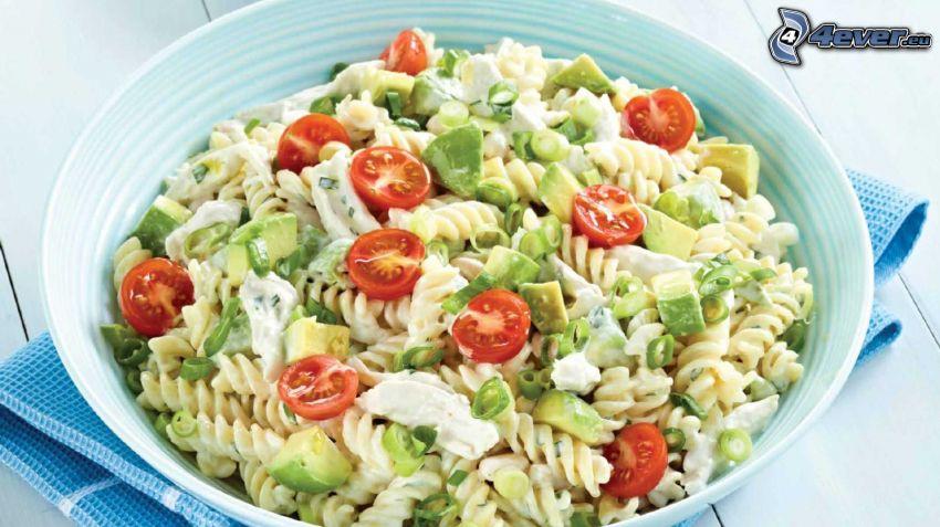pasta salad, tomatoes