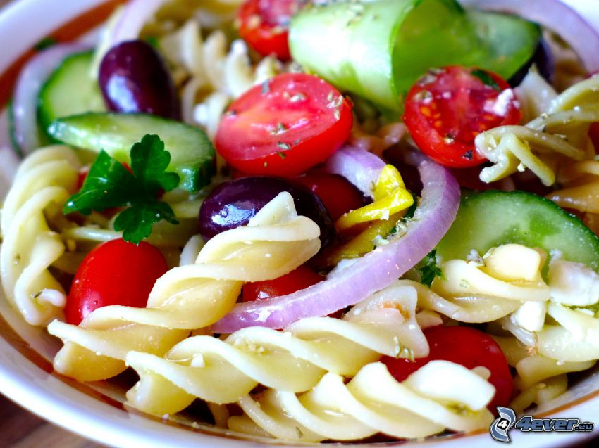 pasta salad, vegetables