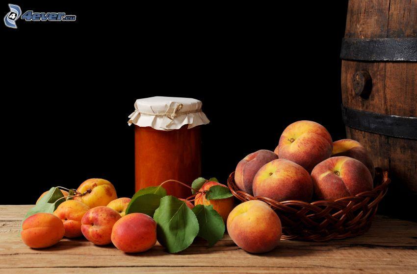 peaches, jam, barrel
