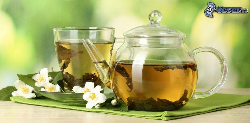 peppermint tea, teapot